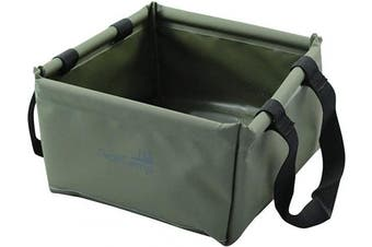 (Green) - AceCamp 10 Litre Outdoor Folding Basin, Foldable Camping Washbowl made of Durable Vinyl, Space Saving and Lightweight, Blue + Green