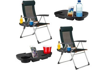 Set of 2 x Clip On Camping Chair Side Table Outdoor Garden Fishing Beach Storage Tidy
