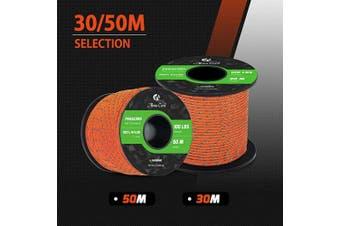 (Reflective Orange, 30 Metres) - Abma Cord 2mm Paracord 1 Inner Strand 100% Nylon Parachute Cord - 45kg Breaking Strength