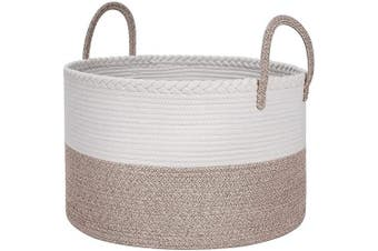 (Wide(50cm  x 33cm ), A-White&Brown) - Bsubseach Extra Large Cotton Rope Storage Baskets, 50cm x 33cm Woven Laundry Basket with Handle Baby Nursery Kids Dirty Clothes Laundry Hamper, Dog Toy Blanket Basket (White/Brown)