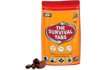 Survival Food for Auto Racing Survival Tabs 2-day Food Supply 24 Tabs Emergency Food Ration Survival Gluten Free and Non-GMO 25 Years Shelf Life Long Term Food Storage - Chocolate Flavour
