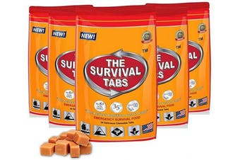 Survival Tabs - 10-days food supply - emergency survival food for outdoor activities gluten-free, non-GMO The Survival Tabs 25 years shelf Life (1 pouches x 24 tablets = 24Tablets/Butterscotch)
