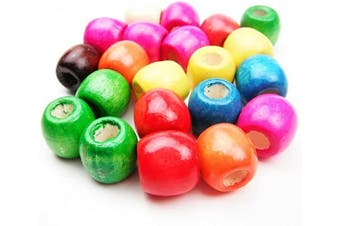 (17MM 50PCS) - All In One Mixed Colour Painted Large Hole Round Wood Spacer Beads for DIY Project (17mm 75gram/50pcs)