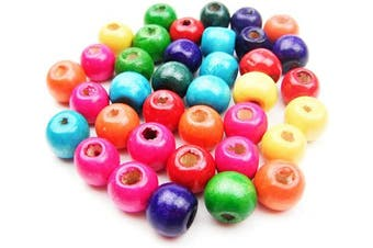 (10MM 200PCS) - All In One Mixed Colour Painted Round Wood Spacer Beads for DIY Project (10mm 60gram/200pcs)