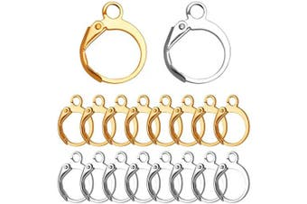 Earrings with Jump Hook, 100 Pieces Round Leverback Earring Hooks Earwires Replacement French Style,Golden and Silver
