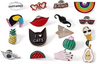 (mixA) - Chuyau Cute Enamel Lapel Pin Set Cartoon Brooch Pin Badges for DIY Clothing Hats Bags Accessories Supplies Crafts (17pcs)