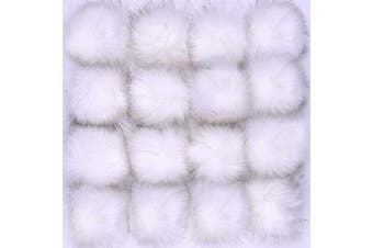 (White) - Coopay 16 Pieces Faux Fur Pom Pom Ball DIY Fur Pom Poms for Hats Shoes Scarves Bag Pompoms Keychain Charms Knitting Hat Accessories (White)