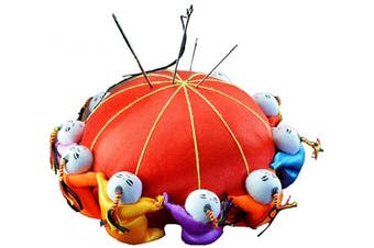 (Red) - Carykon 10cm Oriental Handmade Needle Pin Cushion with 10 Kids (Red)