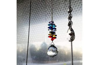(Crystal Ball Pendant Suncatcher) - Crystal Ball Pendant Suncatcher 3 Pcs Crystal Chandelier Pendants Beads Chain Parts Glass Beads Teardrop Crystal Strands for Wedding and DIY Craft Jewellery Decoration