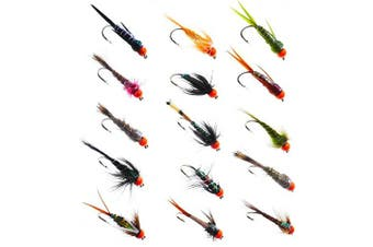 (Set 33J-15-H.H size 16 Hook) - EPIC DEAL HOT HEAD Salmon Trout Fly Fishing Flies in Hook sizes 6,8,10,12,14,16,18 or Random Mixed x 15 (Set 33j-15-H.H). Salmon Trout FishingFlies