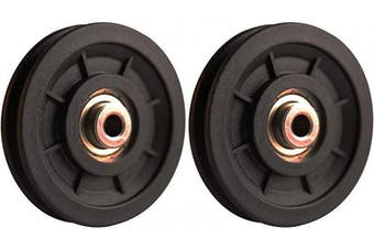 LFJ 90mm Gym Pulley Wheel, 2Pcs Universal Bearing Pulleys for Cable Machine Fitness Equipment Wearproof Abration Spare Part