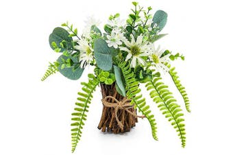 (White) - Artificial Flower Arrangement Fake Plastic Plant Bouquet Mini Bunch Bundle with Bamboo Wood Stems (Rosemary, Eucalyptus, Boston Fern Daisies) Greenery Decoration for Wedding Centrepiece, Spring Party