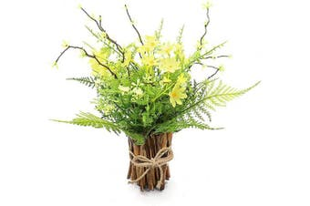 (Yellow) - Artificial Flower Arrangement Fake Plastic Plant Bouquet Bunch Bundle with Bamboo Wood Stems (Grass, Asparagus Fern, Purslane, Daisies) Greenery Decoration for Wedding Centrepiece, Home Decoration