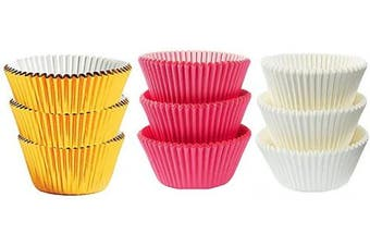 (50White 25Pink 25Gold Foil) - Large Jumbo Texas Muffin/Cupcake Cups White flutted Cupcake Liners Baking Cups (50White 25Pink 25Gold Foil)