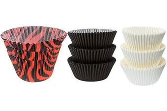 (50White 25Black 25Dark OrangeZebra) - Large Jumbo Texas Muffin/Cupcake Cups White flutted Cupcake Liners Baking Cups (50White 25Black 25Dark OrangeZebra)