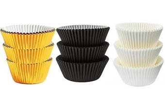 (50White 25Black 25Gold Foil) - Large Jumbo Texas Muffin/Cupcake Cups White flutted Cupcake Liners Baking Cups (50White 25Black 25Gold Foil)