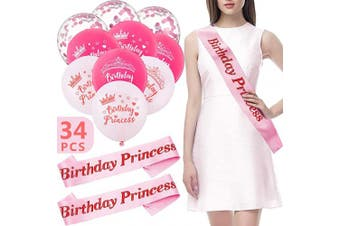 34 Pieces Birthday Princess Decorations Set, Includes 20 Birthday Princess Latex Balloon, 12 Pink Sequins Confetti Balloon and 2 Birthday Princess Sash for Women Girls Party Supplies