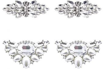 (Fm+df Set) - ElegantPark AJ Fashion Rhinestone Crystal Shoes Dress Decoration Shoe Clips 2 Pcs