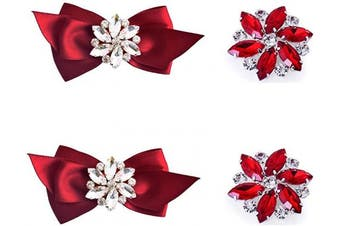 (Red Set) - ElegantPark AJ Fashion Rhinestone Crystal Shoes Dress Decoration Shoe Clips 2 Pcs