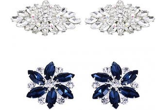 (Bd+aj Set) - ElegantPark AJ Fashion Rhinestone Crystal Shoes Dress Decoration Shoe Clips 2 Pcs