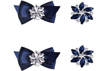 (Navy Blue Set) - ElegantPark AJ Fashion Rhinestone Crystal Shoes Dress Decoration Shoe Clips 2 Pcs