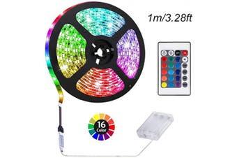 ACONDE 1m Battery Powered LED Strip Lights, DIY Indoor Decoration, 24 Keys Remote