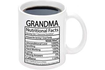 (White-1) - Grandma Nutritional Facts Mug Grandma Gifts Cup Mothers Day Gifts for Grandma Coffee Mug for Mother's Day Birthday Gifts for Grandma (White-1)