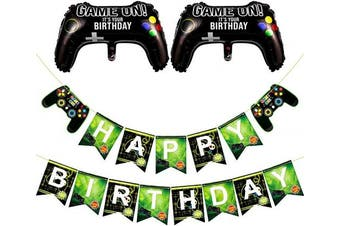 Cosweet Video Game Party Banner Supplies set-Gaming Party Decoration Baby Boys Birthday Party Banners and Balloons for Game Theme Party