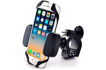 (Heavy-Duty Metal Mount) - Metal Bike & Motorcycle Phone Mount - for Any Smartphone (iPhone 11 Pro, Xr, Xs Max, S20). Unbreakable Handlebar Cell Phone Holder for Bike & Bicycle