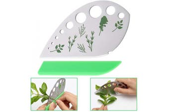 Leaf Herb Stripper 9 Holes, Stainless Steel Kitchen Herb Stripper Tool, 2 in 1 with Protective Holder for Kale, Chard, Collard Greens, Thyme, Basil, Rosemary