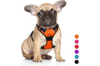 (Small(Chest:43cm  - 60cm ), Orange) - BARKBAY No Pull Dog Harness Large Step in Reflective Dog Harness with Front Clip and Easy Control Handle for Walking Training Running