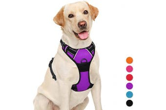 (Large(Chest:70cm  - 80cm ), Purple) - BARKBAY No Pull Dog Harness Large Step in Reflective Dog Harness with Front Clip and Easy Control Handle for Walking Training Running