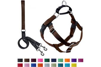 (Brown) - 2 Hounds Design Freedom No-Pull Dog Harness with Leash, Medium