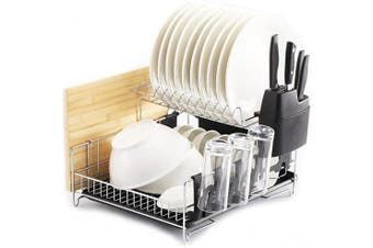 (Black) - PremiumRacks Professional Dish Rack - 304 Stainless Steel - Fully Customizable - Microfiber Mat Included - Modern Design - Large Capacity