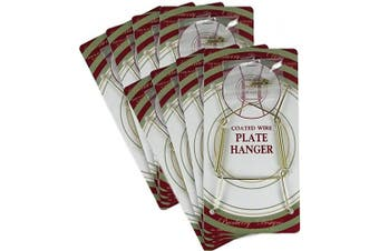 BANBERRY DESIGNS Brass Vinyl Coated Plate Hanger 5 to 18cm Plates - Set of 8 - Includes Hook and Nail for Hanging