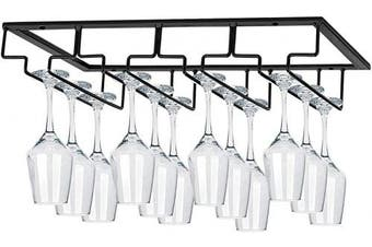 MOCOUM Wine Glasses Rack Under Cabinet Stemware Rack,Wine Glass Hanger Rack Wire Wine Glass Holder Storage Hanger for Cabinet Kitchen Bar (4 Rows)
