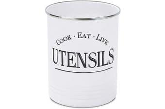 (White) - Kitchen Utensil Holder Crock, White With Premium Padded Base - Vintage Farmhouse Home Kitchen Decor - Large Kitchen Tool Utensil Storage Caddy Organiser by Walford Home