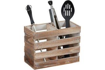 "(Brown) - Barnyard Designs Rustic Wood Utensil Holder Caddy - Wooden Utensil Crock Storage Organiser Primitive Country Farmhouse Kitchen Decor, 24cm x 6.75""(Brown)"