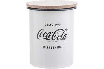(Medium Canister) - TableCraft's Coca-Cola Enamel Medium Canister with Lid 4.5 x 11cm x 14cm , White