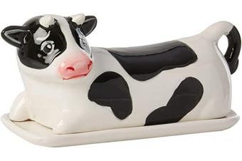 Boston Warehouse 76284 Farmhouse Cow Hand Painted Ceramic Butter Dish