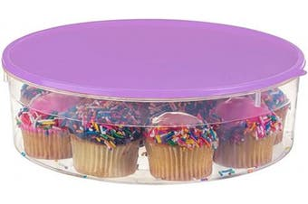 "(Purple) - Zilpoo Plastic Pie Carrier with Lid, 10.5"", Cupcake Container, Muffin, Cookies, Cake Holder, Round Freezer Storage Food Keeper with Cover, Purple"