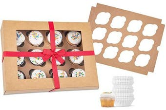 (4) - Bakery Cupcake Boxes and Cake Carrier: 4 Treat Holder Storage Boxes - Disposable Bakery Box with Clear Window, 4 Removable Inserts/Holders for a Dozen Cupcakes, 48 Cup Cake Baking Cups and Ribbon