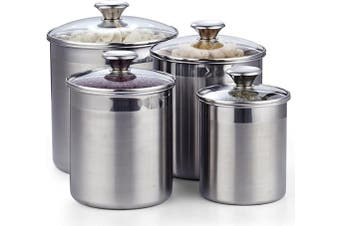 Cooks Standard 02553 4-Piece Canister Set, 4 pcs, Stainless Steel