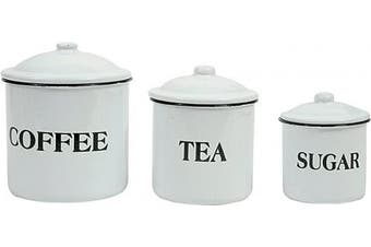 (White) - Creative Co-op Metal Containers with Lids, Coffee, Tea, Sugar (Set of 3 Sizes/Designs) Food Storage, White