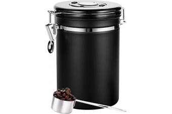 Coffee Canister Black Large,Airtight Coffee Canister With Scoop(650ml),Large Stainless Steel Food Container,Coffee Canister Stainless Steel Storage Container with Date Tracker, CO2-Release Valve