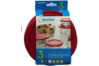 Anchor Hocking Replacement Lid 4 Cup / 946 ml, Set of 3 lids, red Round