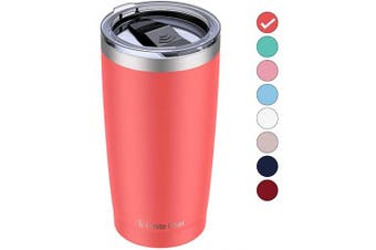 (1pcs, Orange) - Umite Chef 590ml Stainless Steel Tumbler with Lid, Double Wall Vacuum Insulated Travel Mug Tumbler with Straw, Durable Insulated Coffee Mug for Hiking, Camping & Travelling (Coral Orange)