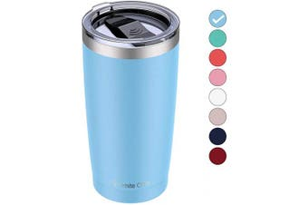 (1pcs, Blue) - Umite Chef 590ml Stainless Steel Tumbler with Lid, Double Wall Vacuum Insulated Travel Mug Tumbler with Straw, Durable Insulated Coffee Mug for Hiking, Camping & Travelling(Blue)