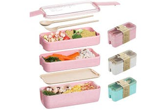 (Pink) - Edtsy Bento box for kids and adults - Leakproof lunchbox with utensils, dividers - Lunch Solution Offers Durable, Leak-Proof, On-the-Go Meal and Snack Packing