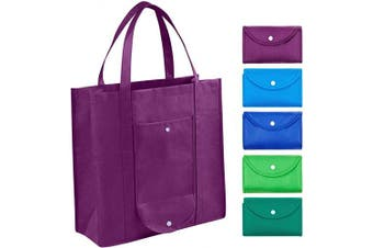 Grocery Bags Reusable Foldable for Shopping (set of 5), Foldable Into Pouch, Extra Large & Durable Heavy Duty Shopping Totes, Washable, Long Handles & Eco Friendly Reusable Shopping Bags